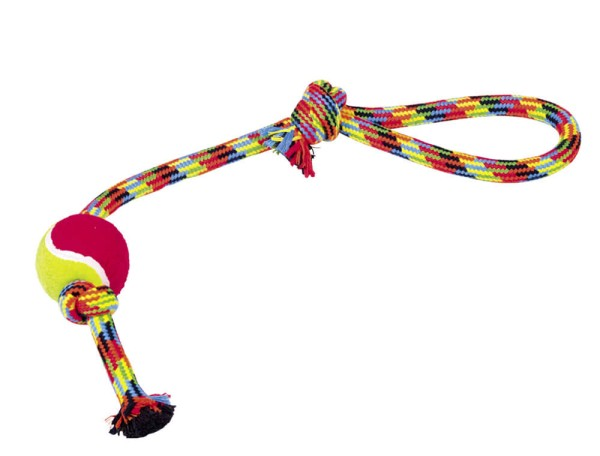 Nobby Spielseil doppelt bunt mit Ball ca. 47cm