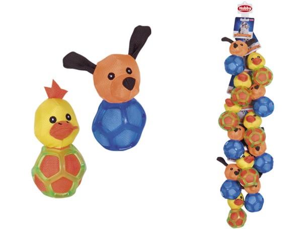 Nobby TPR Gitterball mit Stofftier 13,5cm, Zufallsartikel